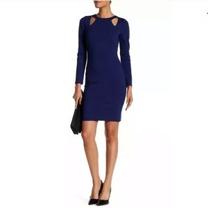 Halston Heritage XS Long Sleeve Ponte Dress Blue